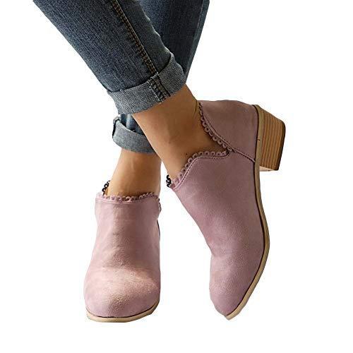Stiefeletten Damen Leder Wildleder Sommer Low Top Ankle Boots Blockabsatz Stiefel mit Blockabsatz Elegant Schuhe Schwarz Blau Rosa Gr.35-43 PK42