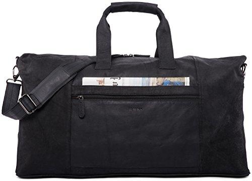 LEABAGS Sydney Reisetasche Handgepäcktasche Sporttasche aus echtem Leder im Vintage Look, (LxBxH): ca. 64 x 25 x 34 cm - Schwarz