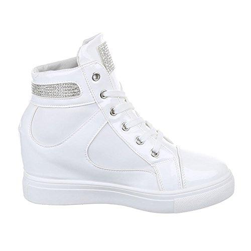 Damen Schuhe, A6012, FREIZEITSCHUHE HIGH-TOP SNEAKERS KEILABSATZ Weiß