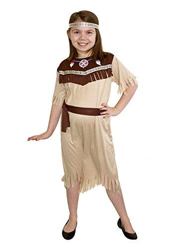 - Perkins Indian Squaw Mädchen Medium indischen Fancy Dress Kostüm für Kinder WILD WEST COWBOY (Indische West Kostüme)