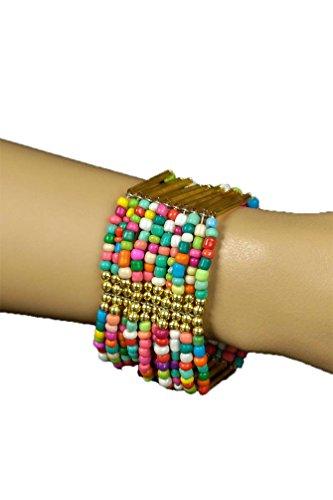 Karneval-Klamotten Hippie Armbänder Hippie Armband Damen 60er Jahre Perlen Grün Bunt