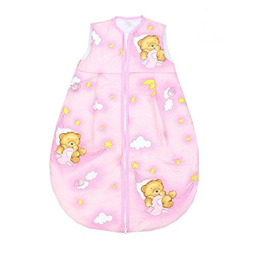 TupTam Baby Schlafsack Wattiert ohne Ärmel ANK001, Farbe: Bärchen Mond Rosa, Größe: 80-86