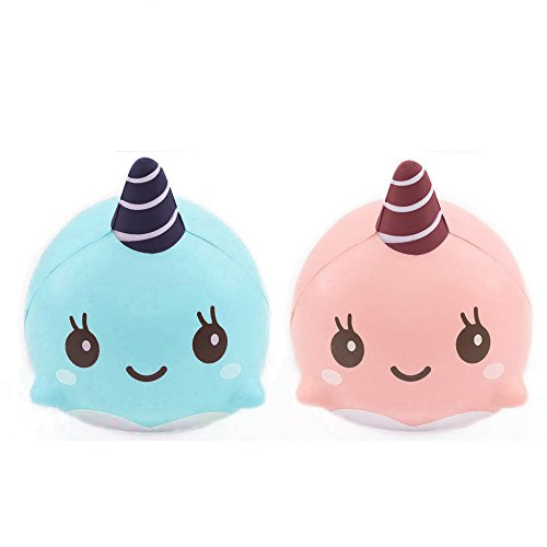 2PC Squeeze Spielzeug FORH 9CM Kawaii Weich Wal Squeeze Spielzeug Funny Stress Relief Spielzeug Slow Rising Cartoon Toys Cute Phone Anhänger Dekoration (Blau + Rosa)