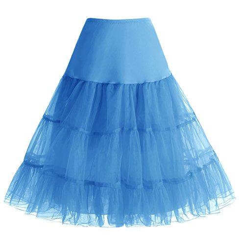 Homrain Damen 50er Vintage Petticoat Rockabilly Unterrock Mini Kleid Blue XL (Plus Petticoat Size)