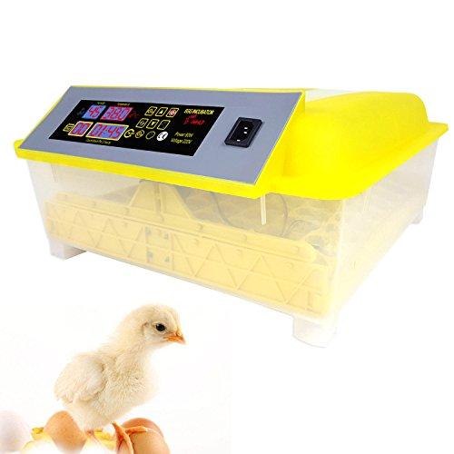 Buyi-World Inkubator Vollautomatische Brutmaschine, Brutapparat für 48 Eier, Motorbrüter Hühner, Flächenbrüter 48.3 x 47 x 22.9cm