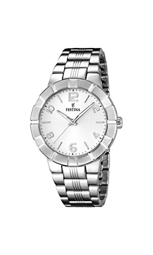 Festina Women's Quartz Watch with White Dial Analogue Display and Silver Stainless Steel Bracelet F16711/1