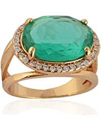 Sanaa Creations Gold Plated Green Diamond Ring For Girl's And Women's