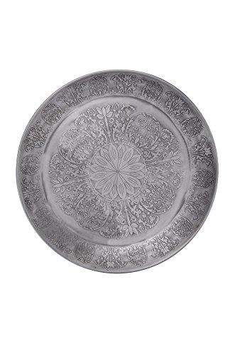 Runde Servierplatte Große, (Orientalisches rundes Tablett aus Metall Suad 50cm | Marokkanisches Teetablett in der Farbe Silber | Orient Silbertablett silberfarbig | Orientalische Dekoration auf dem gedeckten Tisch)