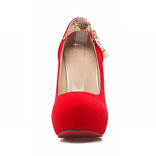 Mee Shoes Damen reizvoll Ankle strap Pailletten hidden Plateau high heel Pumps Rot