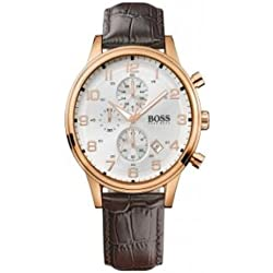 Hugo Boss Men's Watch Analogue Quartz 1512519 Brown Leather Strap White Dial