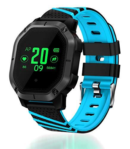 Ears Herren Damen Smartwatch 2018 Q18 Bluetooth Smart Uhr GSM Kamera Tf Karte Telefon Armbanduhr für Android Smartwatch mit praktischen Funktionen Für Android & iOS (Blau)