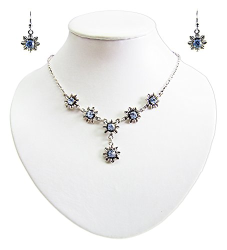 Blumen Collier mit Ohrhängern Hellblau - Zauberhafte Schmuck Sets bestehend aus Halskette und Ohrringen