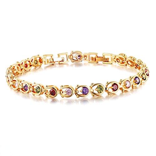 L'oro SMCTCRED ragazze 18K ha placcato delle donne eleganti dei regali di nozze braccialetto d'oro del cuore del doppio braccialetto di collegamento per le donne della signora Girls