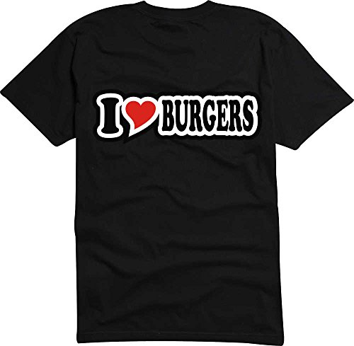 Black Dragon - T-Shirt I love mit Herz/Heart schwarz I LOVE BURGERS XXL - Fasching Party Geschenk Funshirt