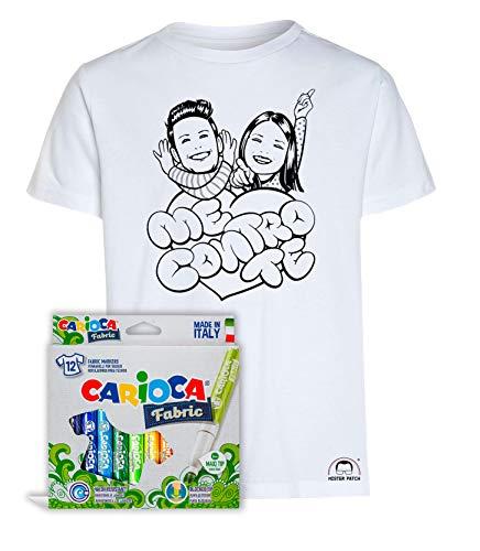 Idea regalo per bambini - maglietta t-shirt da colorare con colori inchiostro per tessuti - me contro te - kira e rai - luì e sofì originale educativa (9-11 anni, maglia lui e sofi + colori)