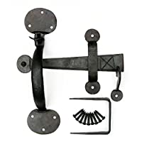 """8"""" Suffolk Thumb Latch : Black Plain Bean Door Latch Forged in Wrought Iron with a Beeswax Finish"""