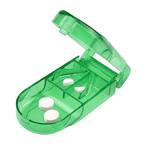 Rosennie_Home & Garten Rosennie Pille Cutter Splitter Half Storage Compartment Box Medizin Tablet Halter Tabletten Medicator Ablagefach Box Medizin Tablet Halterung Einheitsgröße (Grün)
