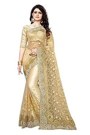 Priyanka Trends Women's Mono Net & Benglory Satin Saree With Blouse Piece (PTRS2727_Beige_Free Size)