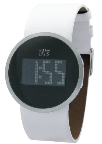 Davis 1191 - Reloj digital de mujer de cuarzo con correa de acero inoxidable plateada - sumergible a 30 metros