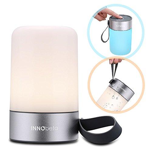 Mini Nachttischlampe - LED Schreibtischlampe Dimmbar, Tischlampen, Nachtlicht Sternenhimmel mit dimmbarem warmem Weissen Licht & LED Lichtern deren Farben sich ändern - InnoBeta Mina