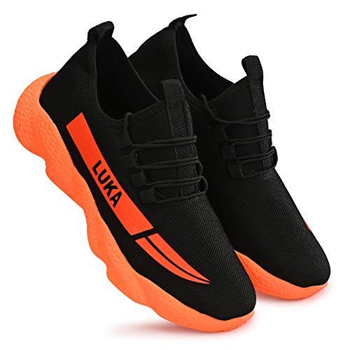 layasa Men's Air Series Mesh Casual,Walking,Running/Gymwear Shoes ... (9, Black/Orange)