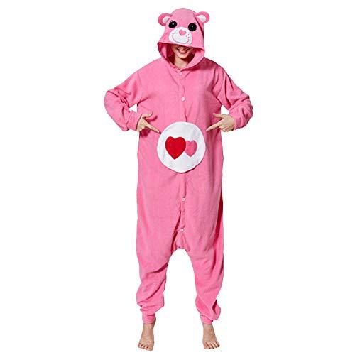 LPATTERN Erwachsene Damen/Herren Cartoon Kostüm- Jumpsuit Overall Schlafanzug Pyjamas Einteiler, Rosa Liebes Bär, L für Körpergröße - Liebe Für Erwachsene Kostüm