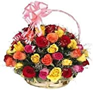 Florazone Garden of Roses Fresh Flowers Basket Arrangement of 25 Mix Roses