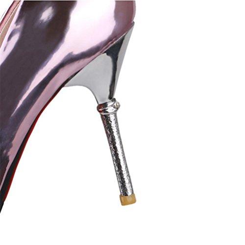 QPYC Tacco alto da donna Banchetto Scarpe da sposa Damigelle Tacco sottile Scarpe singole Occupazione punta Piccolo codice Scarpe extra large 32 33 34 35 36 37 38 39 40 41 42 43 44 45 46 47 48 pink
