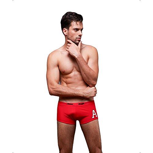 VENI MASEE Men's Surfen Square Bein Jammer Bademode gut trocken Tight Schwimmen Trunks 4 Farbe M-3XL Rot