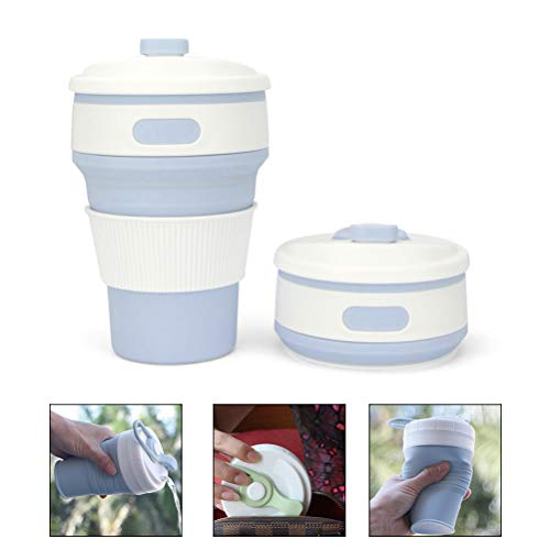 Pywee Portable Foldable Silicone Cup Silicone Telescopic Drinking Coffee Cup Travel Folding Cups,Light Blue Light Blue Cup