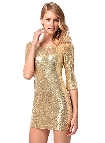Frauen halbe Hülse Pailletten-Kleid tief V zurück Clubwear Abendkleid Gold S - 2
