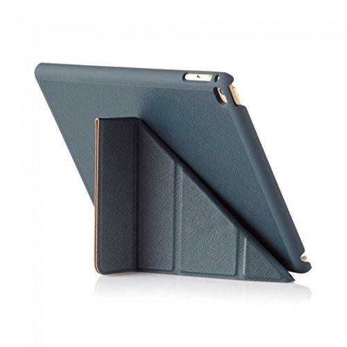 Pipetto iPad Air 2 Hülle Leder Navyblau Saffiano Faltbare Origami Halterung Stand für Apple iPad Air 2 (6. Generation)