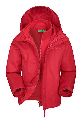 Mountain Warehouse Fell 3-in-1-Kinderjacke - Wasserfeste Triclimate-Jacke, abnehmbare Innenjacke, verstaubar, Seitentaschen - Zum Spazieren & Wandern, Frühling Rot 140 (9-10 Jahre)