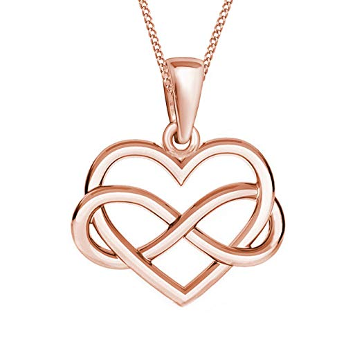 Herz Unendlichkeit Anhänger mit Kette 925 Echt Silber Mädchen Damen Kinder Halskette (3) Rose, 38)
