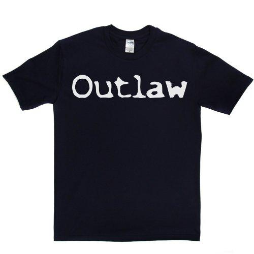 Outlaw Cowboy Slogan Quote Tee T-shirt Marineblau