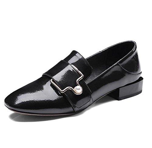 Chaussures pour femmes Authentique Cuir Rétro Ceinture Boucle Square Toe Flâneurs Bureau Taille 36To41 Black