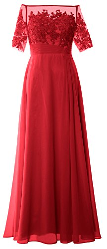 MACloth Women Off Shoulder Mother of Bride Dress Short Sleeve Lace Formal Gown red