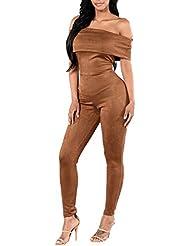 Nuevo Mujer Sin Tirantes Jumpsuit Body Pelele Bodysuit Delgado Largo Mono Marrón S