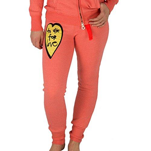 Four ti Four Damen Jogginghose Hose Pant Jogger Print XS-XL verschiedene Farben u. Motive (XL, Orange Herz Gelb) (Herz-print-hose)