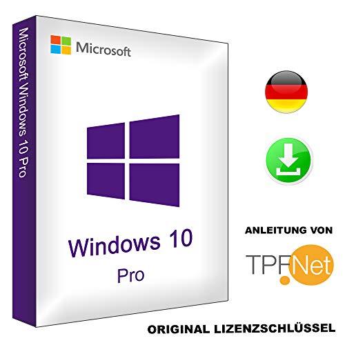 Original Windows 10 Pro 64 Bit / 32 Bit Deutsch Vollversion | Original Lizenz Key inkl. Anleitung von TPFNet® | Versand Mo-So per Post und E-Mail in max. 60Min