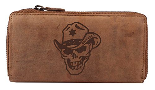 Cowboy-leder-geldbörsen (Greenburry Vintage Leder-Geldbörse mit Totenkopf Motiv - Cowboy Cowgirl Geldbeutel für Biker und Heavy Metal Fans - Damen- Portemonnaie mit Skull Motiv - 19x10x2,5cm)