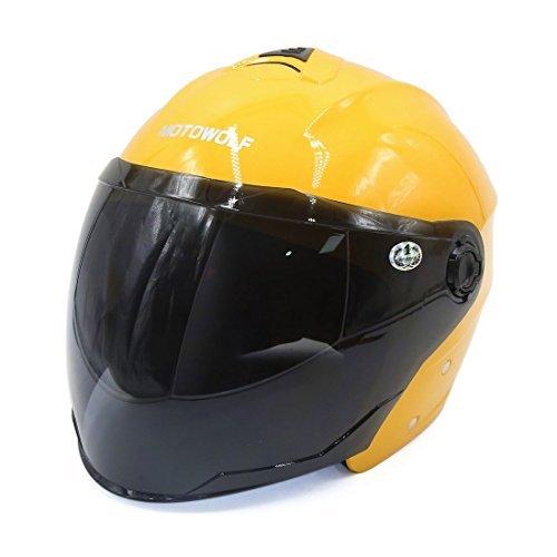 DealMux Gelb ABS Kunststoff Motorrad-Sicherheits-Halbhelm w Schwarz Gesichtsschutz Visier
