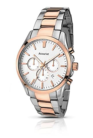 Accurist Men's Quartz Watch with Silver Dial Chronograph Display and Two Tone Rose Gold Plated Stainless Steel Bracelet Mb643S