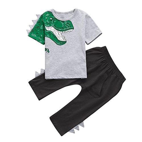 Bekleidung JYJMKleinkind Kinder Baby Boy 3D Dinosaurier T-Shirt Tops + Hosen Outfits Kleidung Set (110, Weiß) (Blend Herren Kleid Hose)