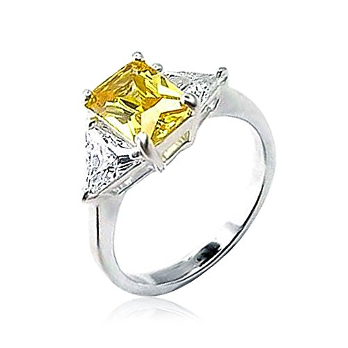 Gelbe Ringe Engagement (Sterling Silver Canary CZ Three Stone Engagement Ring)