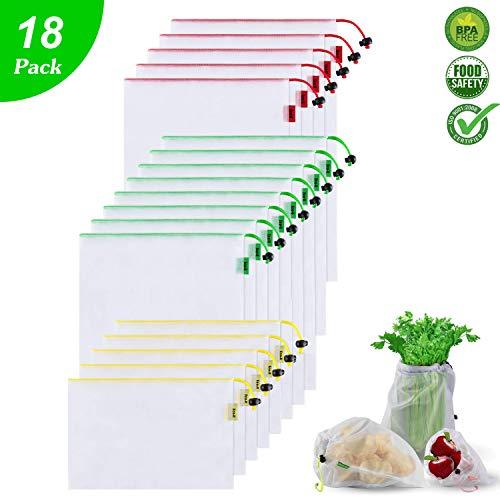 Eco-U Gemüsebeutel und Obstbeutel,18er Set Wiederverwendbare Gemüsenetze Polyester Einkaufstasche Umweltfreundlich Waschbar Robust Leicht Obstnetz Säcke für Einkaufen, Aufbewahrung,3 Größen
