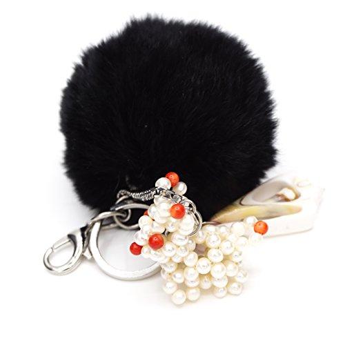 Portachiavi Acciaio a borsa a mano: Conchiglia, Coniglio vere perle di cultura di acqua dolce. Pompon Pelliccia Coniglio nero.