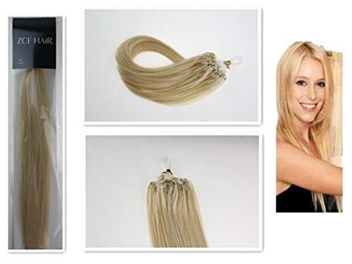 Style 16'' Easy Loops Micro Rings Beads Tipped 100% Real Human Hair Extensions Straight Hair Color 613 Light Blonde Beauty Design Salon by COOL-BEAUTY