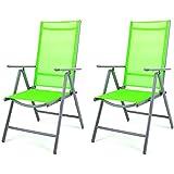 Nexos, Set di 2 sedie pieghevoli e reclinabili, da esterni, con struttura in alluminio, colore: Verde