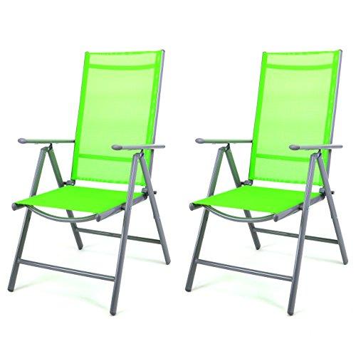 Nexos 2-er Set Stuhl, Klappstuhl, Gartenstuhl, Hochlehner für Terrasse, Balkon Camping Festival, aus Aluminium verstellbar, leicht, stabil, grün